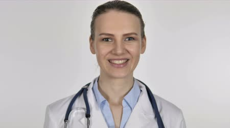 medical student : Portrait of Lady Lady on White Background