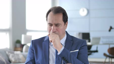 coughing : Cough, Portrait of Sick Middle Aged Businessman Coughing