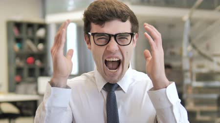 irritação : Screaming Middle Aged Frustrated Young Businessman