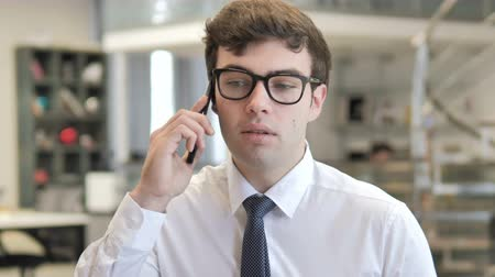 satisfait : Young Businessman Talking on Phone
