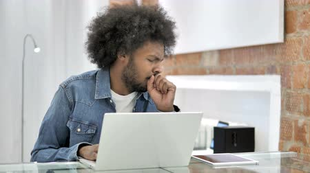 healthy office : Cough, Sick African Man Coughing in Office
