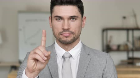 hanyatlás : No by Businessman, Waving Finger to Reject