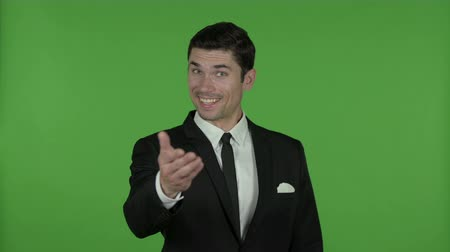 señalando : Businessman Pointing Finger and inviting, Chroma Key Archivo de Video