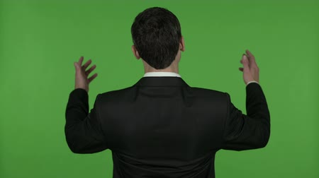 derrota : Back View of Businessman getting Disappoint, Chroma Key