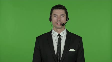 call out : Technical Businessman Talking on Headset, Chroma Key