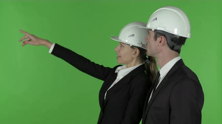 merging : Side View of Female Construction Engineer Pointing up Standing with Male Engineer, Chroma Key