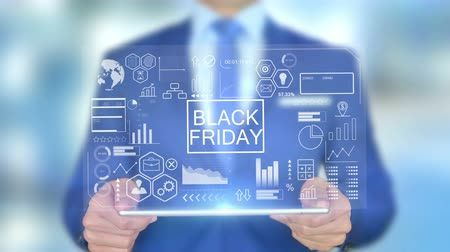 dia voorstelling : Black Friday, zakenman met Hologram Concept Stockvideo