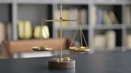 libra : Gold Brass Balance Scale on Lawyer Office Table