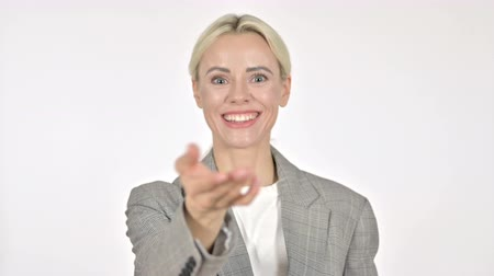 扱う : Businesswoman Inviting Customers with Both Hands on White Background 動画素材