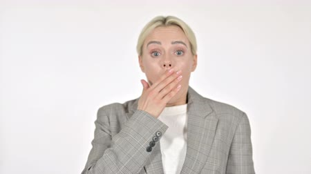 фон : Shocked Businesswoman Wondering on White Background