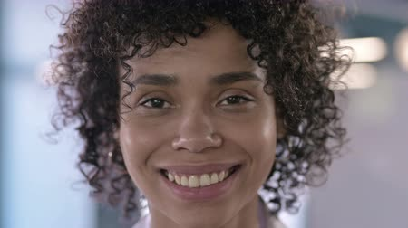 adults only : Close up of Beautiful Young African Woman Looking at the Camera and Smiling Stock Footage