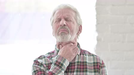 coughing : Portrait of Sick Casual Old Man having Throat Pain Stock Footage