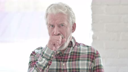 coughing : Portrait of Sick Casual Old Man Coughing Stock Footage
