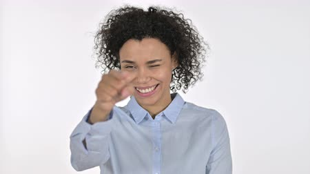 merging : Portrait of Young African Woman Pointing Finger at the Camera
