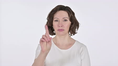 trabalhar fora : No, Finger Sign by Old Woman on White Background
