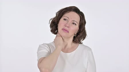 physical pressure : Old Woman with Neck Pain on White Background Stock Footage