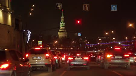 video by car the night we drove to the Moscow Kremlin