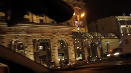 video outside the ritz carlton Moscow at night Стоковые видеозаписи