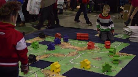 кусок : HD Moscow, Russia - November 14, 2015:  Public Festival board games Стоковые видеозаписи