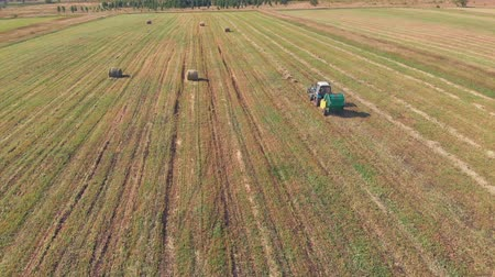 Aerial shot from top to down of tractor cutting grass and moving forward