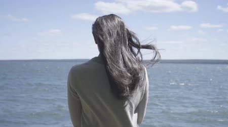 Back view of young brunette woman is standing and looking at the lake. wind blows her hair in slow motion