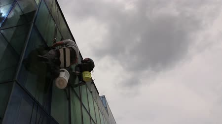 aplikatör : Industrial climbers are applying silicone to rubber juncture among buildings glass facade.