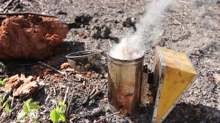 улей : Apiarist, beekeeper has leave smoker on the ground to increase smoke.
