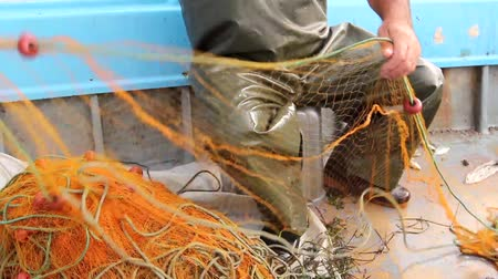 рыба : Fisherman is empty fish from net in his small boat. Fisher in rubber trousers and boot is sitting in his boat and pile up fishing net for angling at open sea. H.264 video codec Стоковые видеозаписи