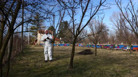 улей : Farmer in protective clothing sprays fruit trees in orchard using long sprayer to protect them with chemicals from fungal disease or vermin at early springtime, near bee colony, apiary.