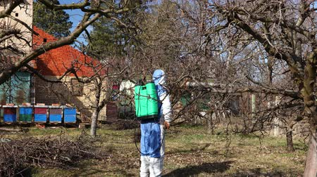 püskürtücü : Farmer in protective clothing sprays fruit trees in orchard using long sprayer to protect them with chemicals from fungal disease or vermin at early springtime, near bee colony, apiary.
