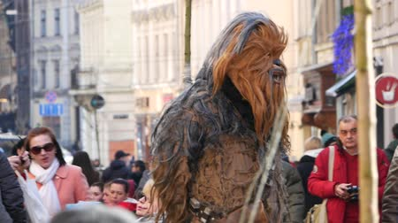 Ukraine, lviv - may 16: Chewbacca, the hero of Star Wars film, walking the streets of Lviv
