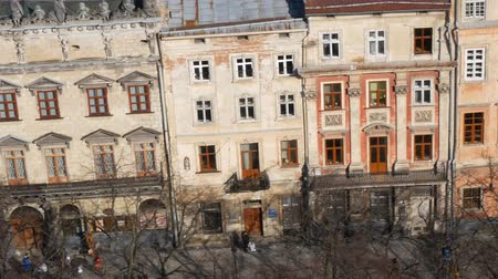 Street of Old town in Lviv. city in the sunlight Ukraine Wideo