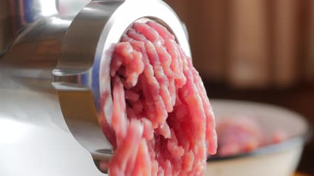 Cooking the meat forcemeat using the meat grinder Wideo