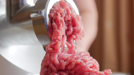 Cooking the meat forcemeat using the meat grinder Стоковые видеозаписи