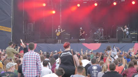 UKRAINE, TERNOPIL - July 20, 2018: Concert of group. Performance of rock of group on a scene. Wideo