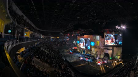 counter strike : MOSCOW, RUSSIA - OCTOBER 27 2018: EPICENTER Counter Strike: Global Offensive esports event. Main stage, big screen with game moments and audience stands full of fans cheering for their teams.