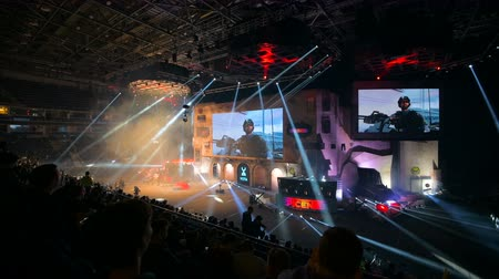 counter strike : MOSCOW, RUSSIA - OCTOBER 27 2018: EPICENTER Counter Strike: Global Offensive esports event. Great illumination on main stage during opening ceremony.