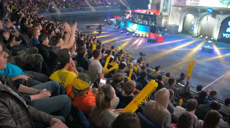 forma : MOSCOW, RUSSIA - OCTOBER 27 2018: EPICENTER Counter Strike: Global Offensive esports event. Fans on a tribunes worry and support thier favorite teams.