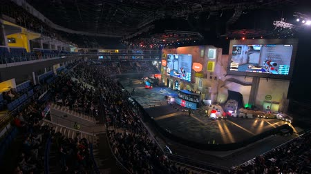 MOSCOW, RUSSIA - OCTOBER 27 2018: EPICENTER Counter Strike: Global Offensive esports event. Main stage, lightning, illumination, big screen with game moments from overlooking spot at the top.