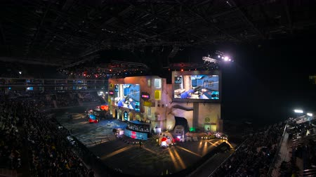 MOSCOW, RUSSIA - OCTOBER 27 2018: EPICENTER Counter Strike: Global Offensive esports event. Main stage, lightning, illumination, big screen with a game moments on it.