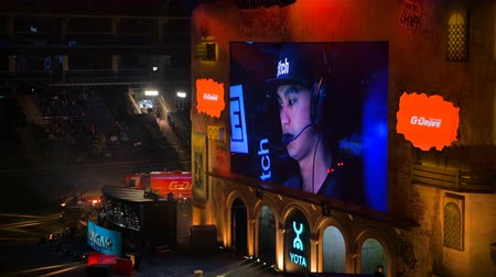 MOSCOW, RUSSIA - OCTOBER 27 2018: EPICENTER Counter Strike: Global Offensive esports event. Big screen with a game stream: players, arena, fans and the game.