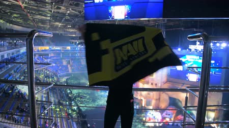 counter strike : MOSCOW, RUSSIA - OCTOBER 27 2018: EPICENTER Counter Strike: Global Offensive esports event. Happy beautiful girl fan at arena with team NaVi flag. Cheering with a hands raised and smiling. Stock Footage
