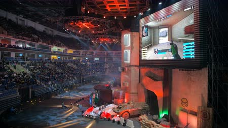 MOSCOW, RUSSIA - OCTOBER 27 2018: EPICENTER Counter Strike: Global Offensive esports event. Main stage, lightning, illumination, big screen with a game live stream on it. Stok Video