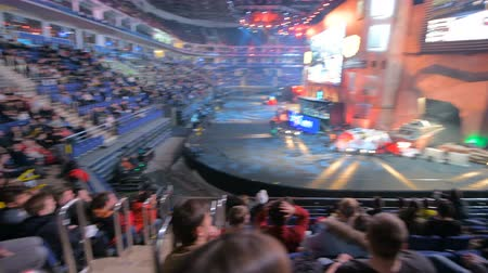 counter strike : MOSCOW, RUSSIA - OCTOBER 27 2018: EPICENTER Counter Strike: Global Offensive esports event. Observing the arena with fans, players booths, big screens. Panning view Stock Footage