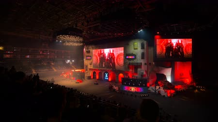 MOSCOW, RUSSIA - OCTOBER 27 2018: EPICENTER Counter Strike: Global Offensive esports event. Main stage, lightning, illumination, big screen on the opening ceremony. Stok Video