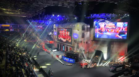 MOSCOW, RUSSIA - OCTOBER 27 2018: EPICENTER Counter Strike: Global Offensive esports event. Introduction of the team FAZE clan on a main stage.