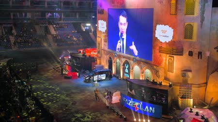 MOSCOW, RUSSIA - OCTOBER 27 2018: EPICENTER Counter Strike: Global Offensive esports event. Introduction of the team Liquid on a main stage. Event host on a main screen.