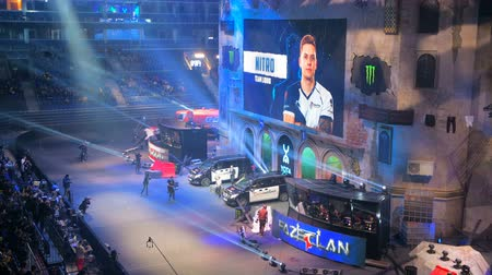 MOSCOW, RUSSIA - OCTOBER 27 2018: EPICENTER Counter Strike: Global Offensive esports event. Introduction of the team Liquid on a main stage. Players on stage and on big screen. Stok Video