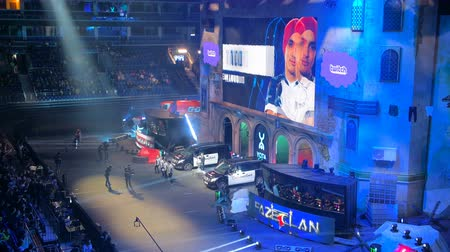 counter strike : MOSCOW, RUSSIA - OCTOBER 27 2018: EPICENTER Counter Strike: Global Offensive esports event. Introduction of the team Liquid on a main stage. Players on stage and on big screen. Stock Footage