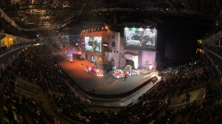 MOSCOW, RUSSIA - OCTOBER 27 2018: EPICENTER Counter Strike: Global Offensive esports event. Introduction of Natus Vincere NaVi team. Main stage, lightning, illumination, big screen
